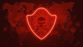 High-tech computer concept. A red glowing neon shield from a binary code. Hacking the system. A dark skull with bones. Map of the Royalty Free Stock Photo