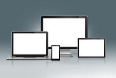 High Tech Computer Set on a futuristic grey background Royalty Free Stock Images