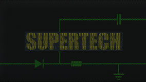 High-tech electronic background. Text 'supertech' in uppercase gold letters on a display screen superposed on green electronic circuitry comprising diode stock photo