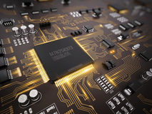 High tech electronic PCB (Printed circuit board) with processor, microchips and glowing digital electronic signals Royalty Free Stock Photo
