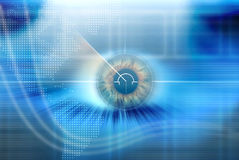 High Tech eye with blue background. High Tech scan radar eye with blue background Stock Photo