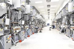 High tech factory - production of solar cells - machinery and in. Teriors Royalty Free Stock Images