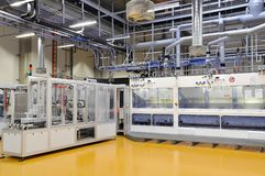 High tech factory - production of solar cells - machinery and in. Teriors Stock Image