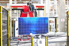 High tech factory - production of solar cells - machinery and interiors stock photos