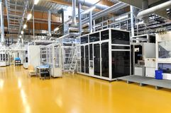 High tech factory - production of solar cells - machinery and in. Teriors Stock Photos