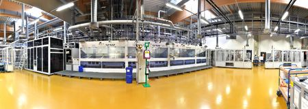High tech factory - production of solar cells - machinery and in stock photography