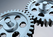 High Tech Gears. High-Resolution 3d concept art showing the meeting point of two chrome gears Royalty Free Stock Image