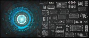 High-tech geplaatste Ontwerpelementen Cirkel de technologieconcept van HUD stock illustratie