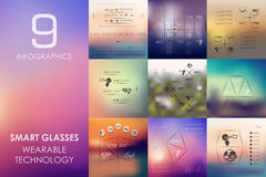 High-tech glasses infographic with unfocused background. High-tech glasses vector infographics with unfocused blurred background Royalty Free Stock Image