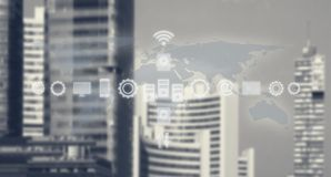 High Tech Global Business Model. Smart City And World Map With Services and Icons, Internet of Things, Networks, Communication. Services and Icons, Internet of royalty free stock photo