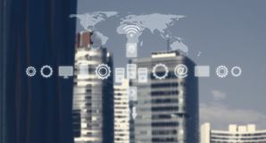 High Tech Global Business Model. Smart City And World Map With Services and Icons, Internet of Things, Networks, Communication. Services and Icons, Internet of royalty free stock image