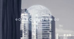 High Tech Global Business Model. Smart City And World Map With Services and Icons, Internet of Things, Networks, Communication. Services and Icons, Internet of stock photos