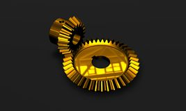 High tech golden gears Stock Photo