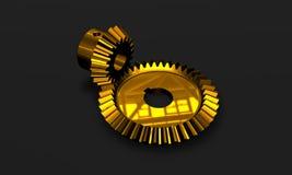 High tech golden gears. High tech interlocking golden gears metallic Stock Photo