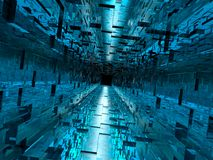 High-tech Hallway. Quality 3D render of a glassy, high-tech hallway / tunnel Stock Photography
