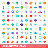 100 high tech icons set, cartoon style. 100 high tech icons set in cartoon style for any design vector illustration Stock Illustration