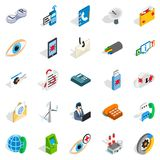 High tech icons set, isometric style. High tech icons set. Isometric set of 25 high tech vector icons for web isolated on white background Stock Image