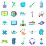 High tech industry icons set, cartoon style Royalty Free Stock Photo