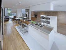 High-tech kitchen with dining room Royalty Free Stock Photo