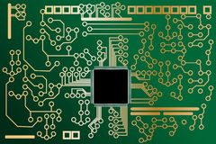 High tech mother board with chip. Vector - High tech mother board with chip components background. Concept: Technology stock illustration