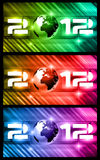 High Tech New Year Banners. Background with rays of light and Rainbow Colours. Ideal for alternative Flyer or psters Royalty Free Stock Image