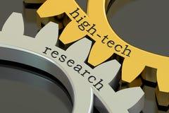 High-tech Onderzoekconcept op de tandwielen, het 3D teruggeven Stock Foto
