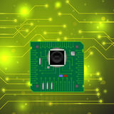 High Tech Printed Circuit Board. Modern Computer Technology Green Background. Circuit Board Pattern. High Tech Printed Circuit Board Stock Image