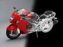 High-tech red bike. 3d bike model. 3d illustration. A motorcycle illustration in studio Royalty Free Stock Photography