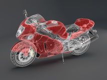 High-tech red motorcycle Stock Images