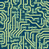 High tech schematic seamless vector texture - elec. High tech schematic seamless vector texture - blue electronic circuit board Stock Image