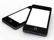 High Tech Smartphone. Illustration of two cutting edge high tech smartphones with blank space Royalty Free Stock Photos