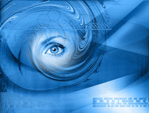 High-tech technology background with eye. Eye viewing digital information represented by ones and zeros Stock Image