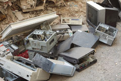 High-tech waste. Smashed computer equipment dumped at the side of a road stock photography