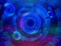 High-Teche Computertechnologie auf dem blauen Hintergrund Abstraktes Rad Stockfotografie