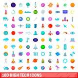 100 High-Teche Ikonen eingestellt, Karikaturart Lizenzfreies Stockfoto