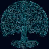 High-Teche Stromkreisart runder yggdrasil Baum Futuristisches Design des Cyberpunk Stockfotos
