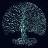 High-Teche Stromkreisart runder yggdrasil Baum Futuristisches Design des Cyberpunk Fortschrittssymbol Lizenzfreie Stockfotos