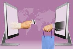 High-Teches Konzept, zwei Hände von den Laptops Hand mit Kreditkarte und Hand mit Einkaufstasche Abbildung 3D lizenzfreie abbildung