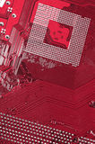 High technology. Complicated computer background in the red color, high technology Royalty Free Stock Image