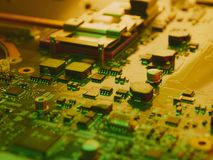 High Technology Computer Circuit Board. CloseUp Stock Photos