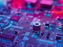 High Technology Computer circuit board. Close-Up Royalty Free Stock Images