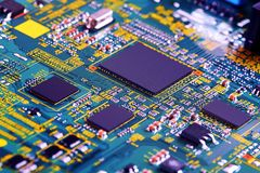 Electronic circuit board close up. High tech circuit board. royalty free stock photos