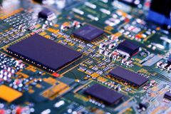 Electronic circuit board close up. High tech circuit board. royalty free stock photo