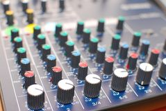 High technology equalizer or mixer. Used in acoustics or studio recording. Represents concepts such as technological advancement, modern lifestyle, electronic Stock Images