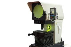 High technology and modern profile projector or optical comparator for silhouette precision measuring and quality control of small. Parts in industrial isolated stock photography