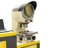 High technology and modern profile projector or optical comparator for silhouette precision measuring and quality control of small. Parts in industrial isolated stock photo