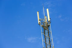 A high telecommunication network antenna outside. A high telecommunication network antenna and the beautiful clear blue sky royalty free stock photography