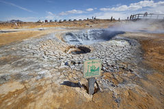 High temperature attention sign near fumarole Royalty Free Stock Photography
