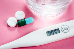 High temperature and drug. Stock Image
