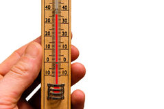 High temperature thermometer hot. Thermometer showing high temperature isolated in white background, hot weather Stock Image